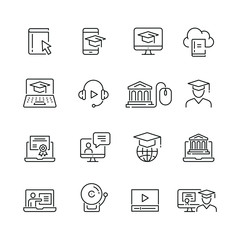 Online Education related icons: thin vector icon set, black and white kit