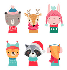 Fototapete - Christmas set with Cute forest animals.