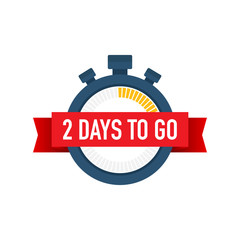 Two days to go. Time icon. Vector illustration on white background.