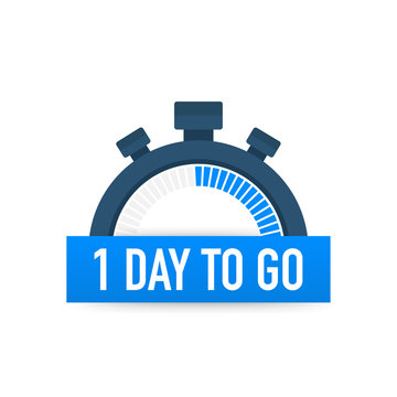 One day to go. Time icon. Vector illustration on white background.