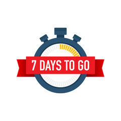Seven days to go. Time icon. Vector illustration on white background.