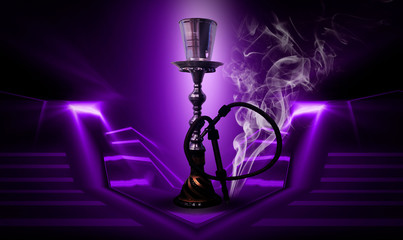Hookah on an abstract neon background with smoke.
