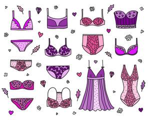 Set of women lingerie and nightwear.