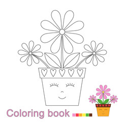 illustration of funny flowerpot for coloring book. Simple educational game for kids