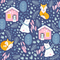 Winter seamless pattern with bear and fox.