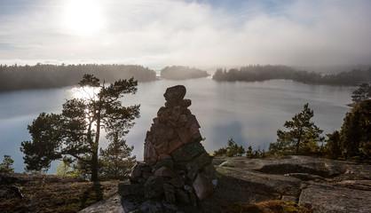Rocky landscape near Ringsön Island, Stockholm archipelago, sweden