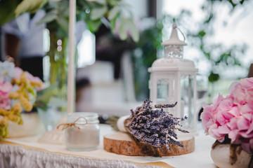 lavender flowers vintage table decoration