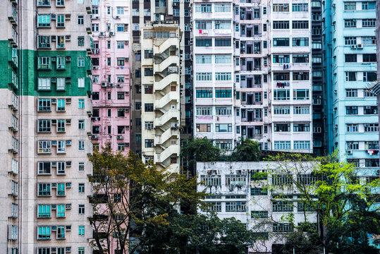 Flats in an apartment block, Hong Kong Island, Hong Kong, China