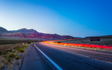 View of trail lights in Red Rock Canyon National Recreation Area, Las Vegas, Nevada, United States of America, North America