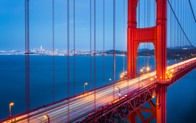 View of Golden Gate Bridge from Golden Gate Bridge Vista Point at dusk, San Francisco, California, United States of America, North America