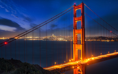 View of Golden Gate Bridge from Golden Gate Bridge Vista Point at night, San Francisco, California, United States of America, North America