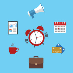Flat design.Time management concept of planning, organization, working time.