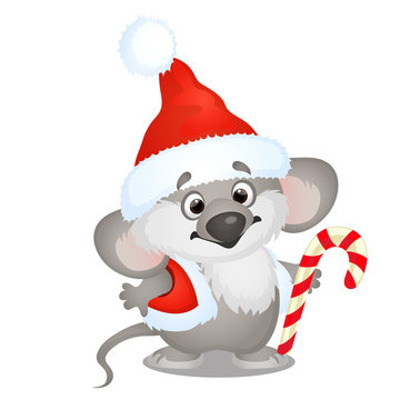 Cute koala bear in hat of Santa Claus with sweet candy cane isolated on white background. Sketch of Christmas festive poster, party invitation, other holiday card. Vector cartoon close-up illustration