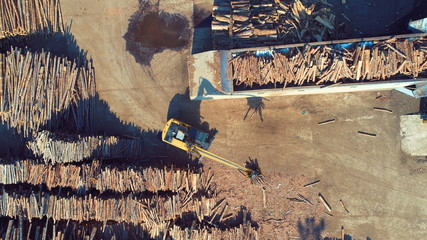aerial top view of wood industry factory