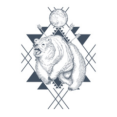 Vector hand drawn angry bear, planet in abstract geometric shapes, wounded beast by arrows. Decorative graphic emblem with big grizzly for t-shirt prints, tattoo. Hunting, wild power concept.