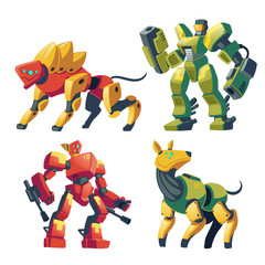 Vector cartoon combat robots and mechanical dogs. Battle androids with artificial intelligence, pet in protective armor isolated on white background for games. Futuristic soldiers, robotic toys.