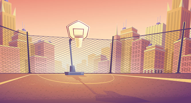 Vector cartoon background of basketball court in city. Outdoor sports arena with basket for game. Street playground in town for competition, championship. Backdrop with metal lattice and skyscrapers.
