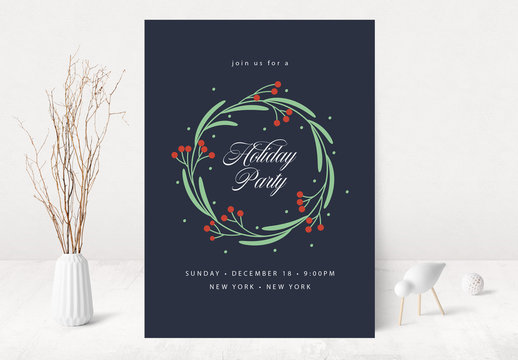 Holiday Party Invitation Layout with Wreath Illustration