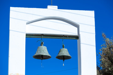 Church bells in Purmamarca with blue sky, Argentina