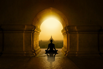 Meditation in buddhist temple Wall mural
