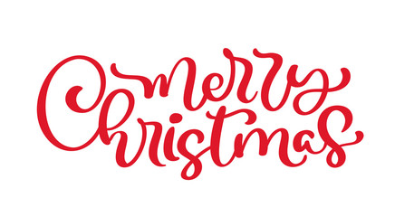 Merry Christmas red vintage calligraphy lettering vector text. Isolated phrase for art template design list page, mockup brochure style, web, greeting card, poster