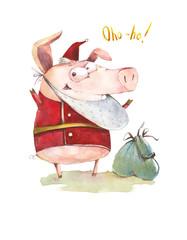 Mysterious pig Santa Claus