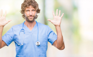 Handsome hispanic surgeon doctor man over isolated background showing and pointing up with fingers number ten while smiling confident and happy.