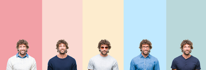 Collage of young casual man over colorful stripes isolated background with a happy and cool smile on face. Lucky person.