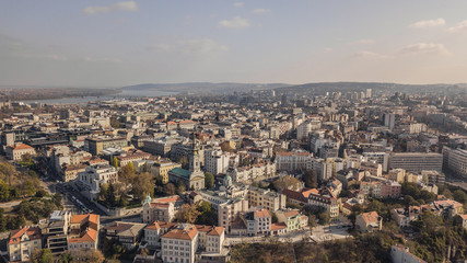 Cityscape of Belgrade at sunny day. Aerial view