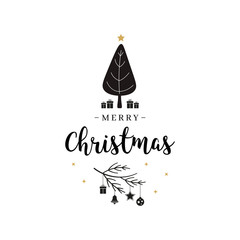 Merry Christmas greeting text tree and gifts isolated background