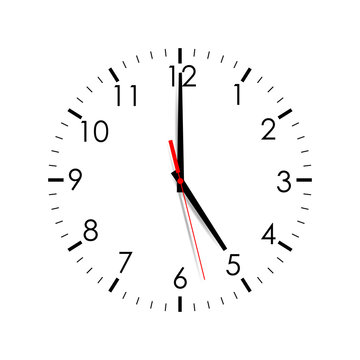 Clock Dial Shows 5:00 Isolated On White Background. Vector Illustration