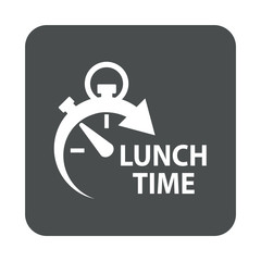 Foto op Aluminium Buffet, Bar Icono plano con texto LUNCH TIME con reloj en cuadrado gris