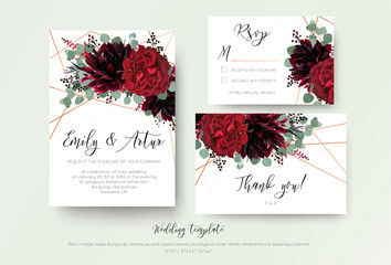 Wedding invite invitation, rsvp, thank you card floral design. Red rose flower, burgundy dahlia, eucalyptus silver dollar branches, berries wreath with rosy copper geometrical decoration. Bohemian set