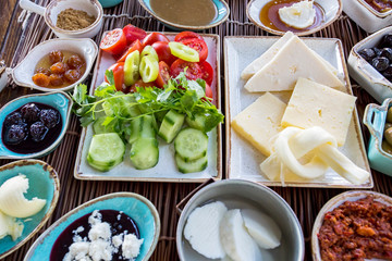 Traditional Delicious Turkish breakfast. Travel concept photo.