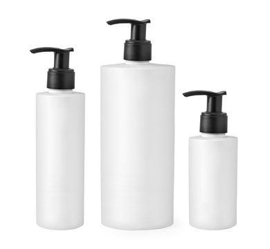 cosmetic white bottle isolated
