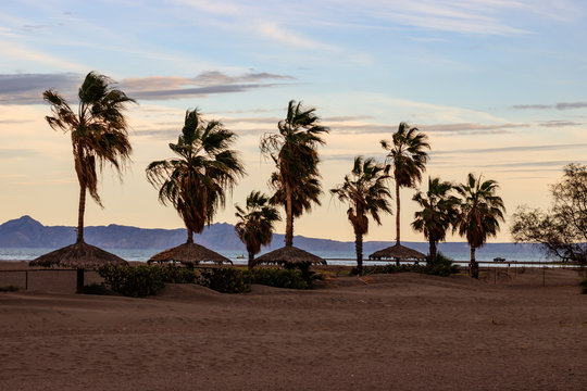 Beach in Loreto, Mexico at sunset.