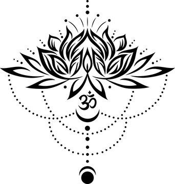 Lotus, Lotusblume mit Om Symbol und Mond.