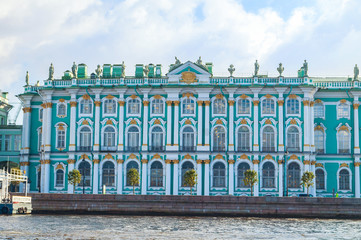 Winter Palace on the embankment of Neva river in St Petersburg,Russia. Architecture landmark of St Petersburg