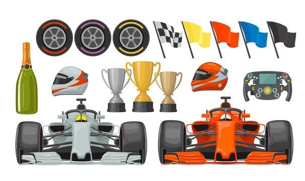 Set race flat icons. Helmet, champagne, cup, flag