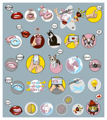 Set of social media signs and trendy icons for creative. Digital lifestyle concept. Social network symbols
