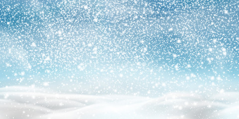 Fotomurales - Natural Winter Christmas background with blue sky, heavy snowfall, snowflakes in different shapes and forms, snowdrifts. Winter landscape with falling christmas shining beautiful snow.