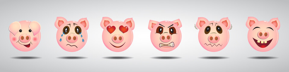 Set of funny pig characters in different emotions. Vector illustration