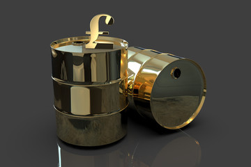 Two Golden Metal Industrial Oil Barrels with Pound sign 3D rendering