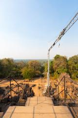 Restoration works at the Phnom bakheng Temple in Angkor.