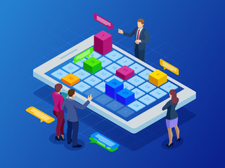 Isometric online weekly schedule and calendar planner organization management on smartphone or tablet. Online business workflow, time management, planning, task app, teamwork, and meeting.