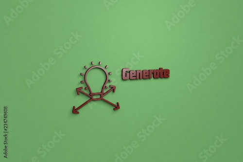 Text Generate with brown 3D illustration and green