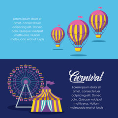 circus tent with panoramic wheel and balloons air hot