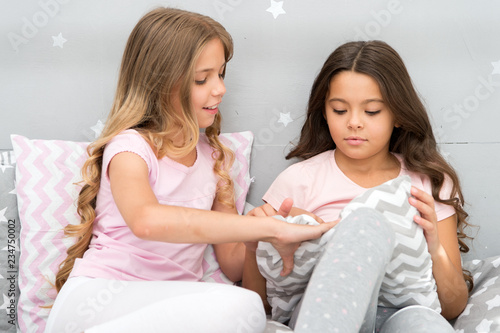 10c54fdfd3 Girls sleepover party ideas. Soulmates girls having fun sleepover party. Girls  happy friends with cute pillows. Pillow fight pajama party. Sleepover time  ...