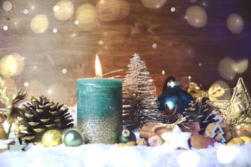 Weihnachten Kerze türkis - Adventskerze Türkis Giltzer