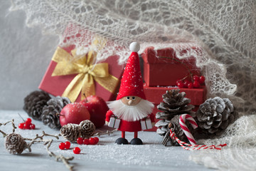 Christmas gifts, preparation, red boxes, toy Santa